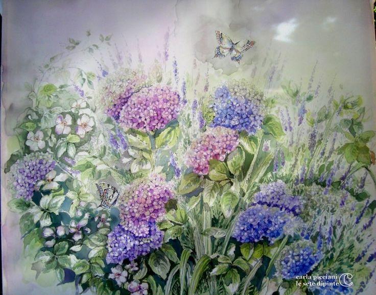 Amo dipingere ortensie! E' un acquerello su seta dipinto in trasparenza, così dritto e rovescio sono indistinguibili (100x80 cm)