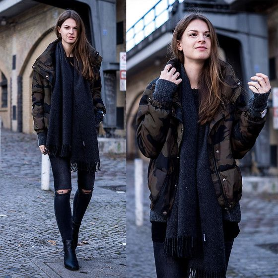 Get this look: http://lb.nu/look/8519373  More looks by Jacky: http://lb.nu/whaelse  Items in this look:  Gina Tricot Jeans, Marks & Spencer Boots, Zara Bomber Jacket   #casual #minimal #street #camouflage #zara #ginatricot #blackjeans #blackboots #winter