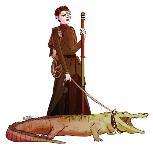 "dwarvenkin: ""my dnd character lelian (my necromancer who ive changed from a tiefling to a half-elf) befriended a croc (i got a nat 20 on nature handling lmao) who she named jason the jerky boy i love dnd """
