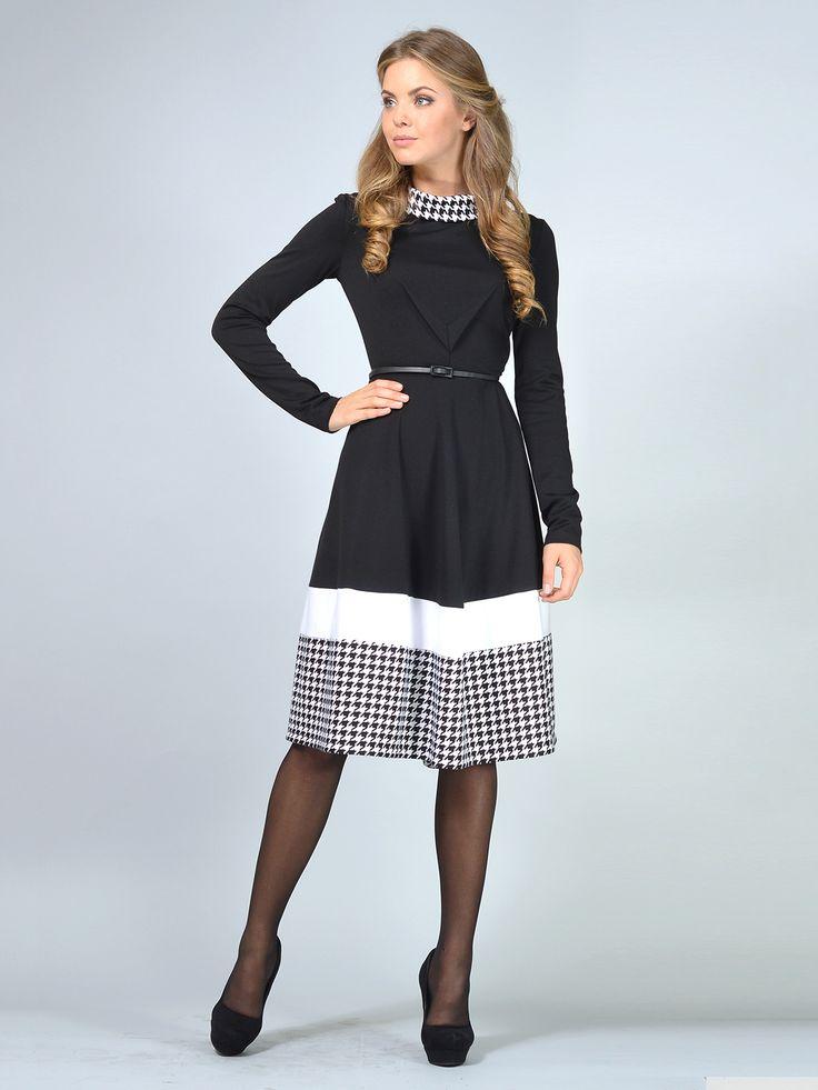 Платье черно-белое в гусиную лапку - LILA KASS, акция действует до 08 октября 2015 года | LeBoutique - Коллекция брендовых вещей от LILA KASS