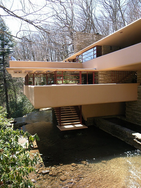 "Frank Lloyd Wright, ""Fallingwater"", constructed 1936-39, Bear Run Creek in Mill Run, PA."