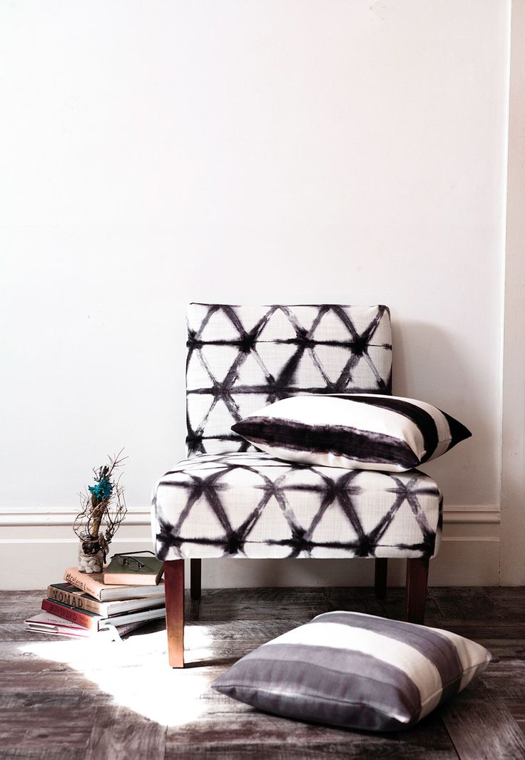 """Inspired by: The handcrafted look of watercolours:Shibori Star polyester-linen **fabric** in Charcoal (on chair), $124/m, Shibori Stripe polyester-linen **cushions** in Charcoal (50x50cm), $105, and Silver (50x50cm), $105, all from [Sparkk](http://www.sparkk.com.au/?utm_campaign=supplier/