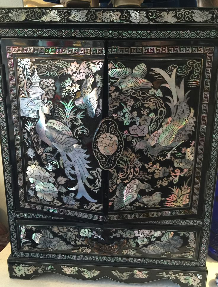 1950's Black Lacquer Jewelry Box/Cabinet with Mother of Pearl Inlay