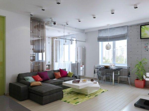 La dernière maison a été conçu par Olga Kataevskaya.  Une autre théorie clé du design d'intérieur pour les petits espaces est de garder chambres séparées et distinctes.  Ce 47 mètres carrés (500 pieds carrés) gère la maison de le faire avec les deux meubles et partitions.