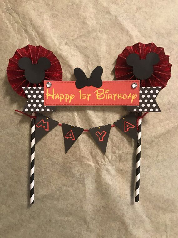 Minnie Mouse inspired Cake Topper/ Red and Black/ Birthday