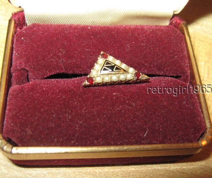 Vntg Acacia Fraternity Badge/Pin Yellow Gold Pearls Garnets Masonic