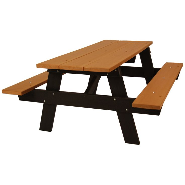 Outdoor Jayhawk Plastics A-Frame 6 ft. Recycled Plastic Picnic Table - PB APIC6CED