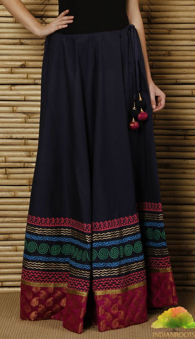 Dark Blue Hand Block Printed Cotton Skirt by 9rasa on Indianroots.com