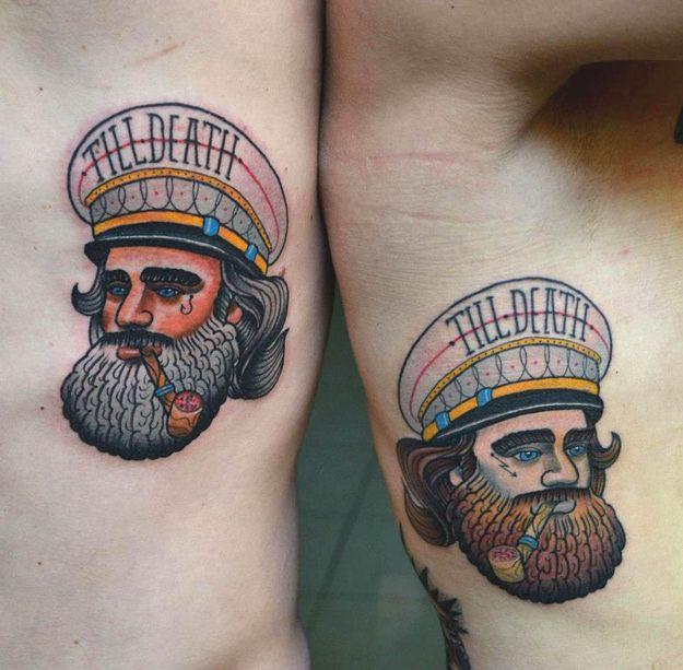 Tatuagem de Casal e Namorados | Marinheiro Oldschool na Costela