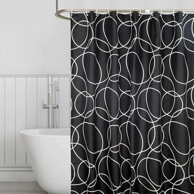 Waterproof Bathroom Shower Curtain Thick Polyester Fabric Mildew