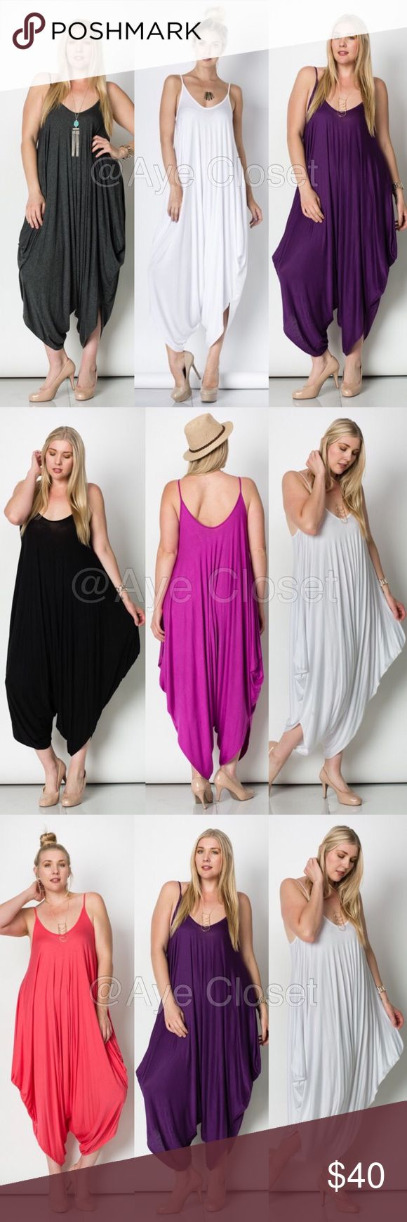 plus size harem oversized loose fit jumpsuit dress price is firm unless bundled✍Retail, Brand new without tags. Fabric Content : rayon + spandex  Trendy plus size Boho chic jumpsuit, palazzo harem pant dress choose from. ⚡️Choose from black or white.. ▶️black-(1X, 2x,3X) ▶️white(1X,2X,3X) (It's little thinner in white and might show little sheerness)  Oversized Loose fit drape harem Romper jumpsuit super comfy and breathable fabric... Boutique Pants Jumpsuits & Rompers