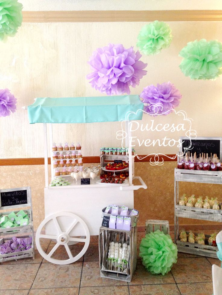 Mesa de dulces carreta baby shower lila menta ni o for Mesa de dulces para baby shower nino