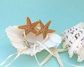 Beach Wedding Ring Bearer Shell with Starfish and Ribbon - Beach Wedding, Beach Ring Bearer Shell, Coastal Wedding
