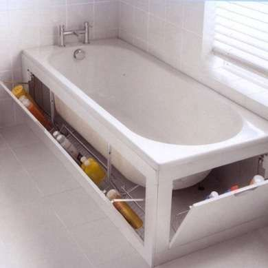 Rub-a-Dub Tub A built-in tub surround typically provides enough space to house tilt-out storage for extra cleaning sponges, shampoo, and soap. Stash your favorite bubbles here, so the kids (and guests) don't get to them.