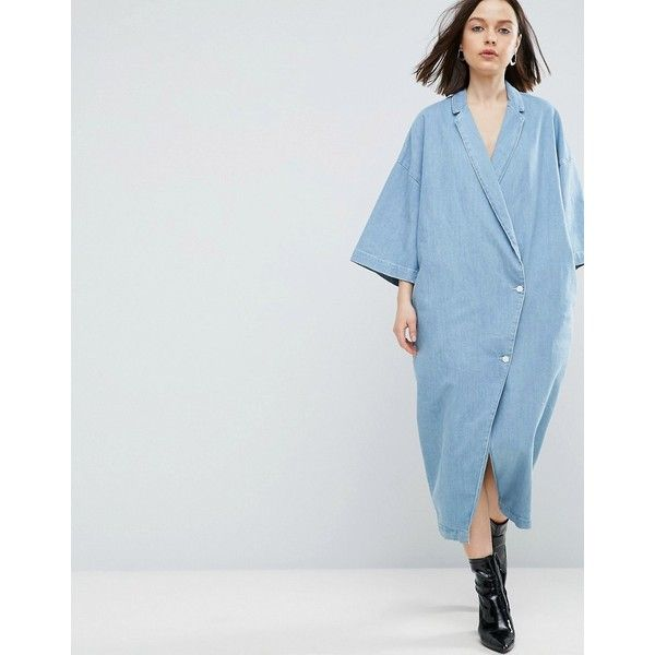 ASOS WHITE Buttoned Kimono Denim Dress In Light Blue Wash featuring polyvore women's fashion clothing dresses blue color block dresses tee shirt dress oversized t-shirt dresses oversized t shirt dress asos dresses