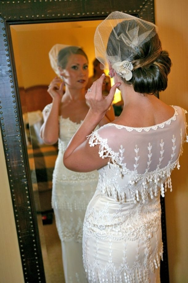 Bridal Hairstyle Up Do Vintage Chic Birdcage Veils Tucked Under On The