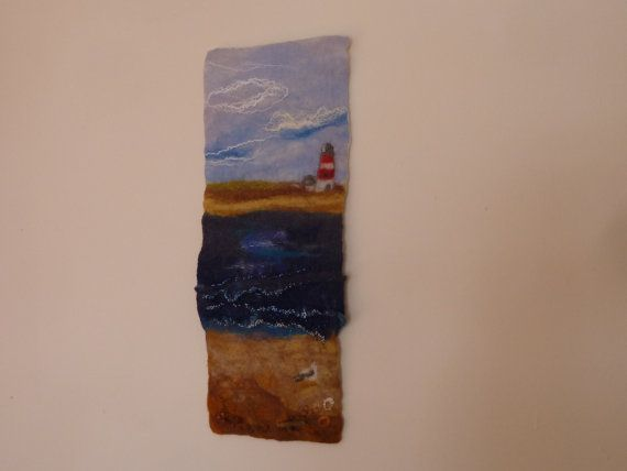 Orford Lighthouse - handmade, wet-felted wallhanging by Deborah Iden, available on Etsy.  See more by LittleDeb at https://www.facebook.com/LittleDebFelts.