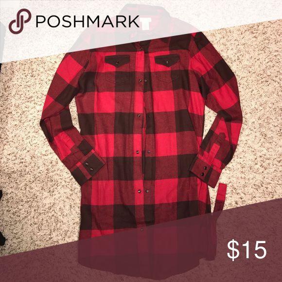 Wrangler dress Red & brown wrangler flannel dress Wrangler Dresses Midi