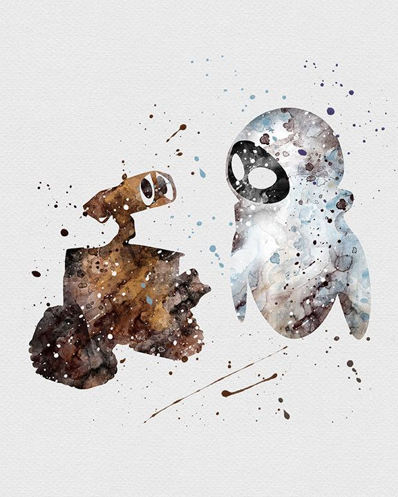 Wall-E & Eva, that too was a cool little family movie, loved wall-e (Cool Paintings Disney)