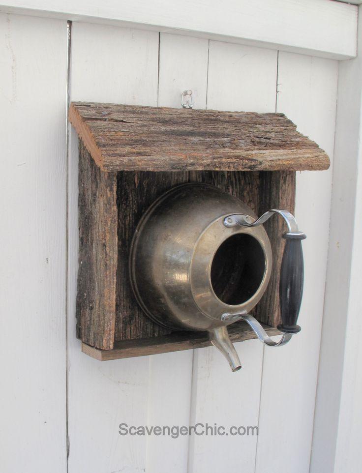 Teakettle birdhouse with reclaimed wood