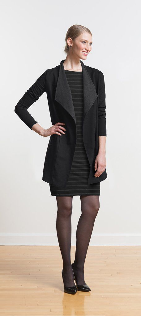Styled elegant or edgy, this long flowy open-front cardigan with contrasting lapel is a favourite for fall and winter
