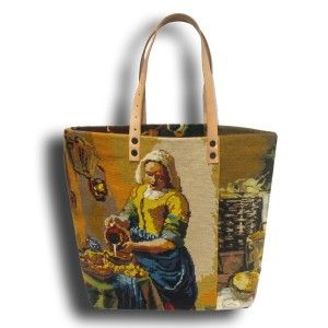 French Tote Bag Collection, made with stitched tapestry from Vermeer.