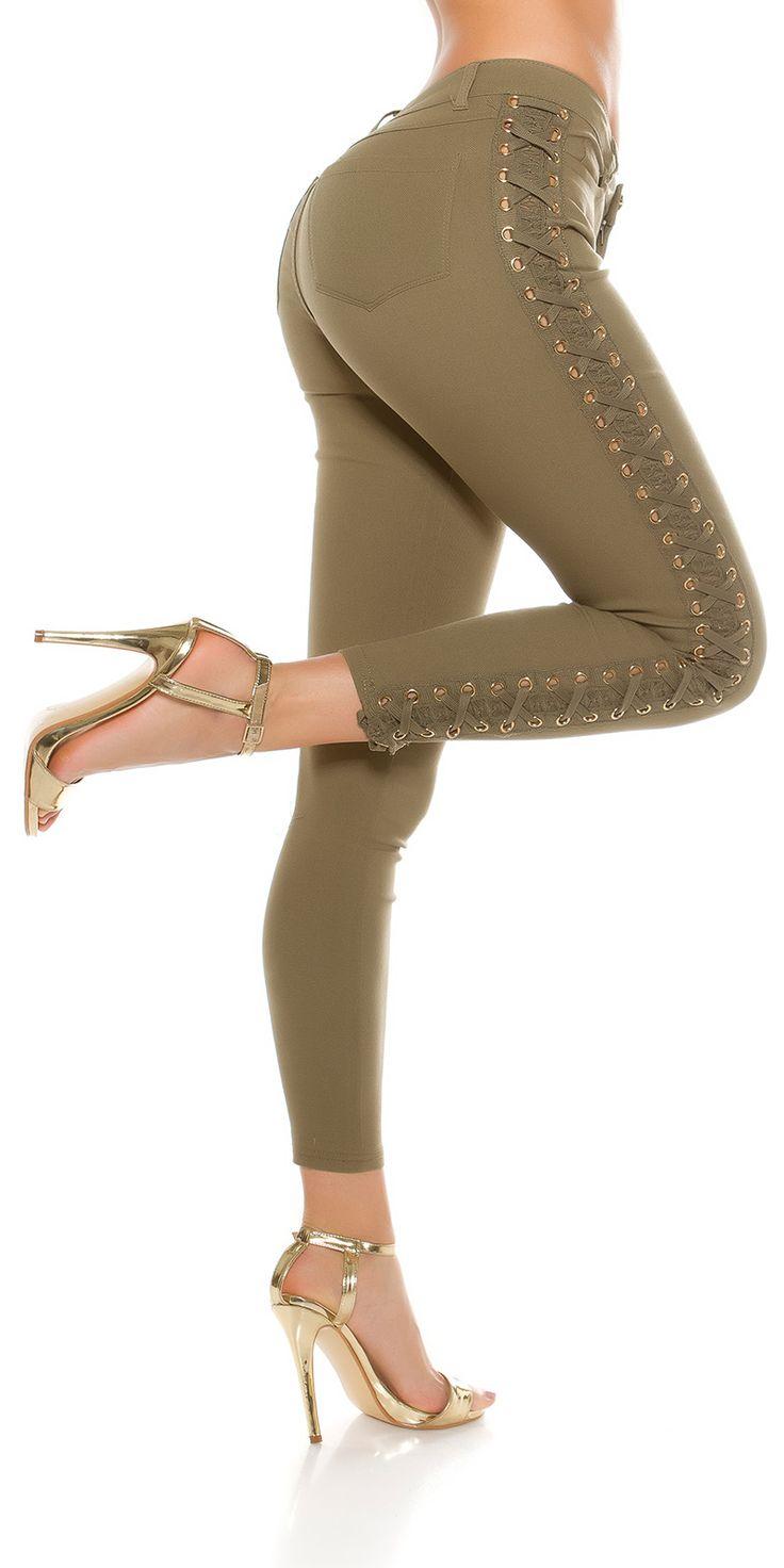 Skinny Jeans lacé de couleur Kaki sur adika.ca