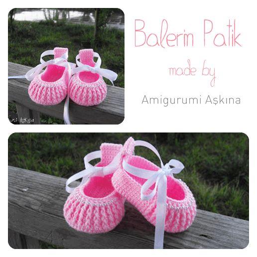 Pembe Balerin Patikler-Tığ işi Bebek Patiği - Tiny Mini Design