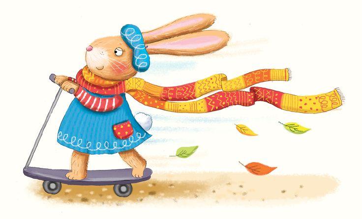 rabbit, scooter, kids illustration, childrens illustrator, kate daubney, pattern, autumn
