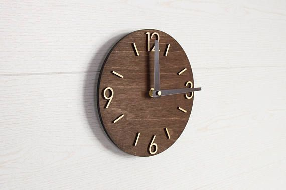 Wall Clock, Modern Clock, Wood Clock, Wooden Clock, Wood clock for wall, Wood Clock Modern, Wall Clocks Wood, Newlyweds Gift - This wall clock is made from birch plywood, dark brown colored. Clock has round shape and modern style of numbers and hands. It looks trendy and as long with