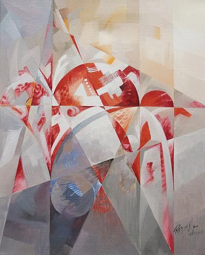 Grey Red Cubism Oil on Canvas Painting by Peruvian Artist - Form Rhythm | NOVICA