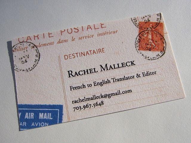 Rachel Malleck Business Card | Img: Sarah Barr @ Barr Creative. http://bit.ly/fr2en_RachelMalleck