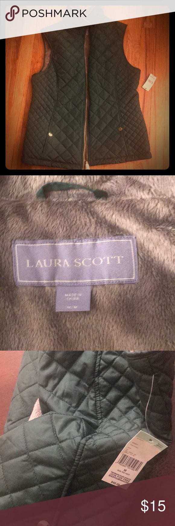 Laura Scott Quilted Green Vest New with tags!  Quilted forest green vest with soft grey inside.  Gold zipper.  Both cute and warm! Laura Scott Jackets & Coats Vests