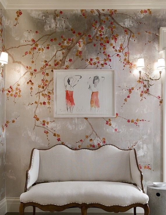 A white settee & a framed print in red - add a beautiful hand painted cherry blossom wall - you have fabulous!