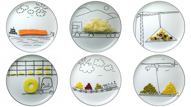 ceramic plates feature fun illustrations of different cogs in the shipping and transportation system by Boguslaw Sliwinski