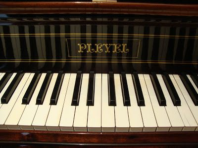 The keyboard of Chopin's Playel Piano in Paris. The piano dates back to 1845 and belongs to the permanent collection of the Polish Library in Paris.