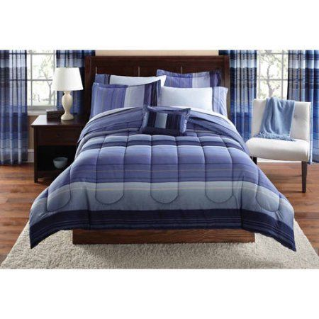 Mainstays Ombre Coordinated Bedding Set with Bedskirt Bed in a Bag - Walmart.com