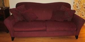 I love this~ More modern maroon couch/loveseat under 5 feet long $125