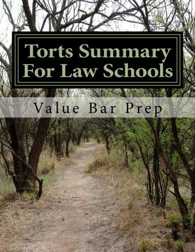 Torts Summary For Law Schools: The most likely torts to be tested are discussed in easy-to-understand fashion by authors of not one but SIX model bar exam essays.. Pages: 33. Format: Kindle eBook. Creator: Value Bar Prep. Negligence, Product Liability, Defamation, the Privacy Torts, Malicious Prosecution, Strict Liability, Premises Liability, Nuisance and Trespass, Intentional Torts. Nearly everything you need to be able to create fact-based arguments and pass with 80% or better by...