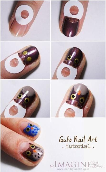 Owl fingernail art.