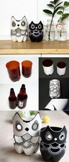 DIY Owl's Using Plastic Bottles