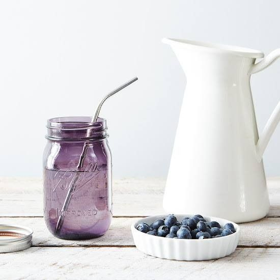 For purple lovers: Use a Blueberry colored Mason Jar as a colorful glass drinking jar with an earth friendly Stainless Steel Straw | LaBelle's General Store