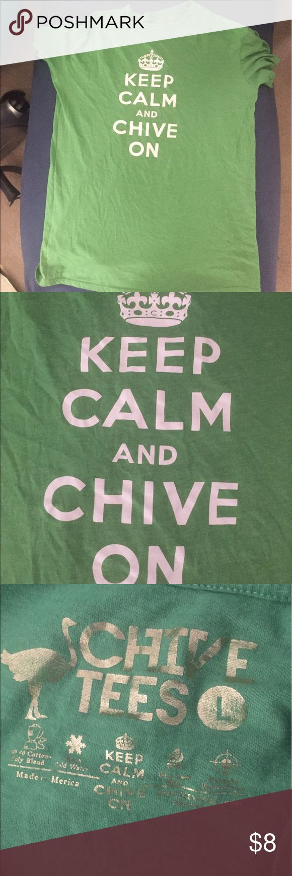 ❇️ Men's KCCO Chive Shirt Lightweight tee size L advertising The Chive - Keep Calm and Chive On (KCCO.) Smoke/pet free as always. Worn once or twice. Accepting reasonable offers on all items in my closet. Bundle and save! Shirts Tees - Short Sleeve