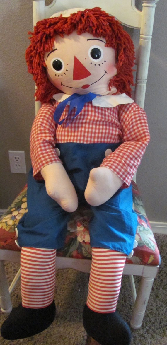 "Giant 44""  Vintage RAGGEDY ANDY  Store Display Doll with 5 eye lashes"