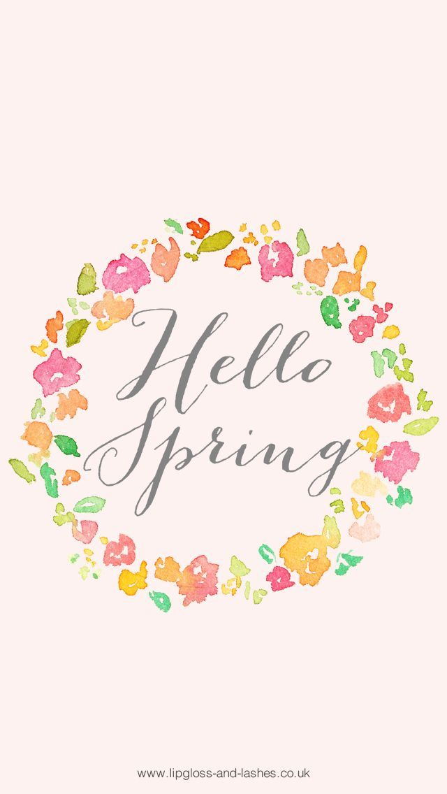Watercolour Floral Wreath Calligraphy Hello Spring Iphone