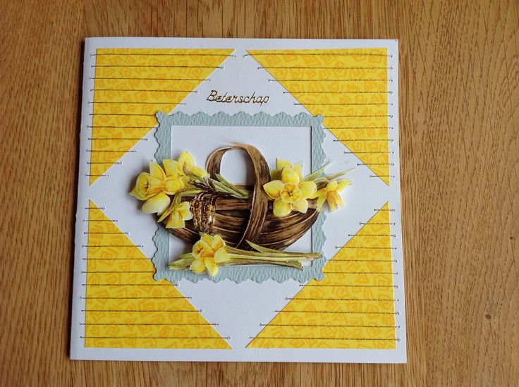 3D card basket with daffodils and embroidery - 3D kaart mand met narcissen en borduurwerk
