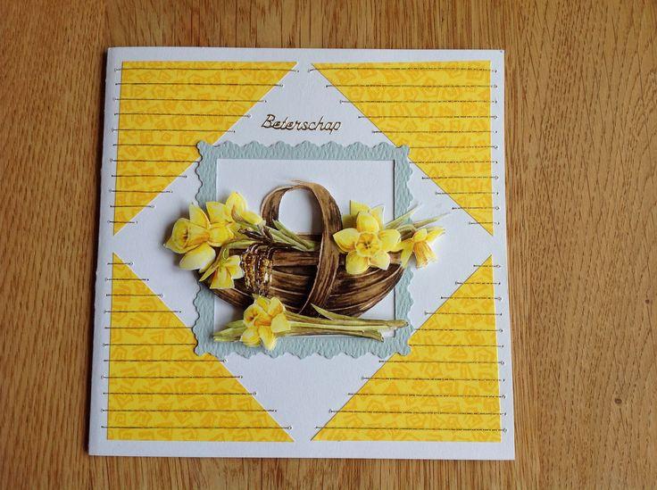 3D card basket with daffodils and embroidery - 3D kaart mand met narcissen en borduurwerk