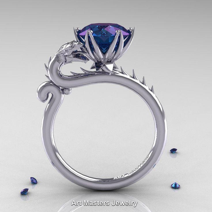 Art Masters 14K White Gold 3.0 Ct Russian Alexandrite Dragon Engagement Ring…