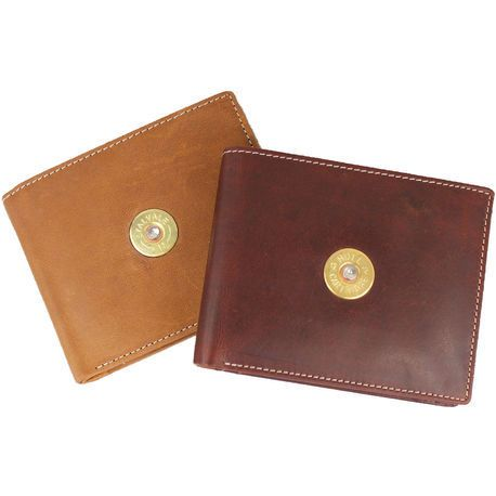 Leather wallet with cartridge decoration