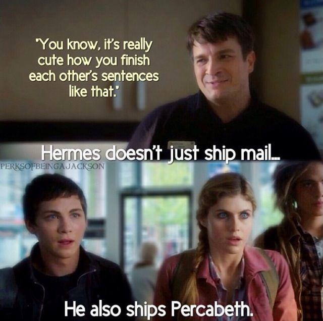 omfg HERMES DOESNT JUST SHIP MAIL HE SHIPS PERCABETH AHHHHH